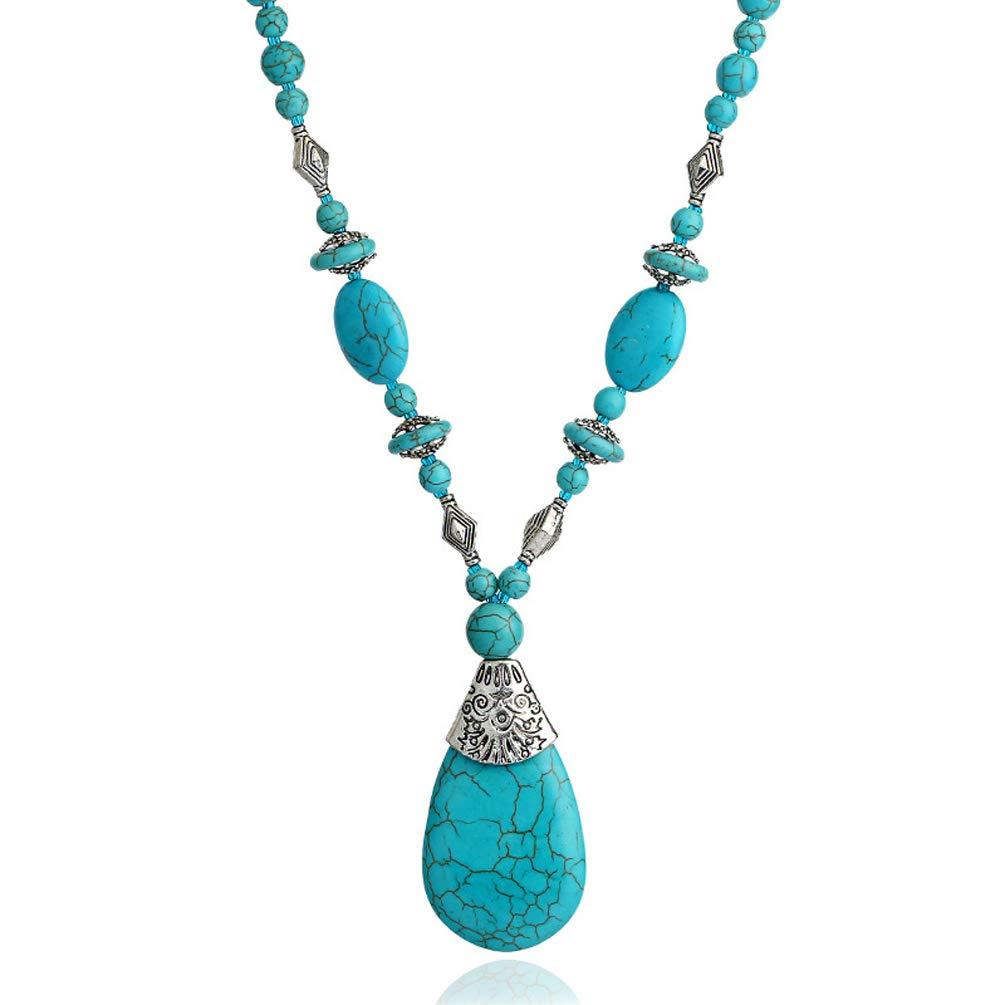 Bluegoog Boho Turquoise Long Beaded Necklace for Women Vintage Ethnic Alloy Pendant Jewelry (Turquoise Long Necklace) by Bluegoog
