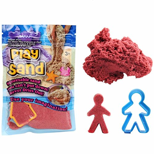 Kinetic Play Sand, Magic Space Sand Castle Building Kit, Squeezable Beach Sand With Molds, Best Sand Toys for Kids by E-SCENERY (Red) (Castle Sand Art Bottle)