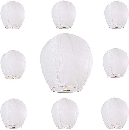 Pack of 10 Kong Ming Sky Lanterns Chinese Lanterns White