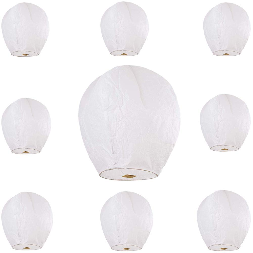 Maylai 10 Pack Sky Lanterns White Flying Paper Lanterns Chinese Wish Lanterns for Birthday Wedding Party Anniversary Biodegradable Environmentally Friendly