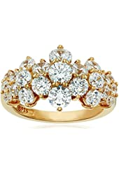 Yellow-Gold-Plated Sterling Silver Swarovski Zirconia Cluster Ring