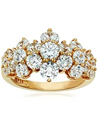 Yellow Gold Plated Sterling Silver Swarovski Zirconia Cluster Ring