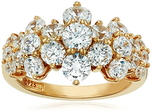 Amazon Collection Yellow-Gold-Plated Sterling Silver Swarovski Zirconia Cluster Ring