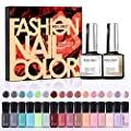 Modelones 18 PCS Soak Off Gel Nail Polish Set- 16 Color Gel with No Wipe Base and Top Coat Starter Gel Nail Manicure Kit