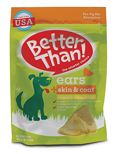 519c4uER8uL - Better Than Ears Premium Dog Treats, Skin & Coat Cheese & Bacon Flavor, 9 Count Pouch