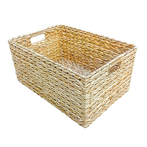 Small Rectangular Water Hyacinth Storage Basket by Red Hamper