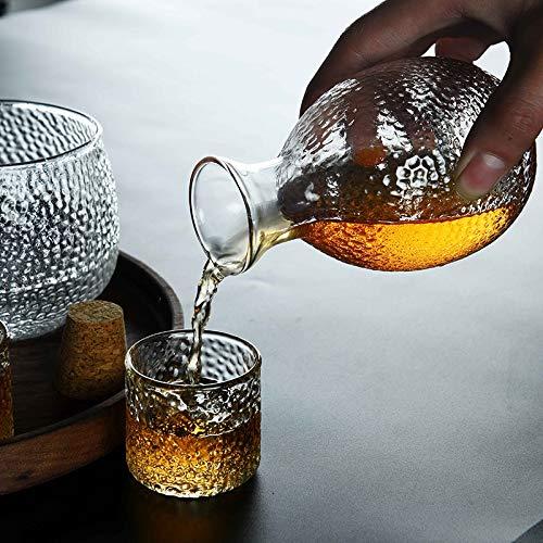 Sake Drinking Set,Sake Warmer Set With 4 Sake Cups,Sake Glasses Decanter Gift Set For Cold//Warm//Hot Sake Liquor With Tray