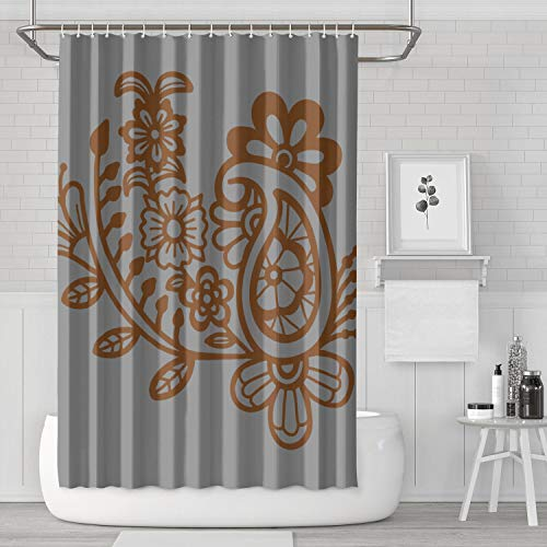 BOShout Mehndi Art Design Floral Abstract Shower Curtain Waterproof Water Resistant for Bathroom,Printing Bath Curtains