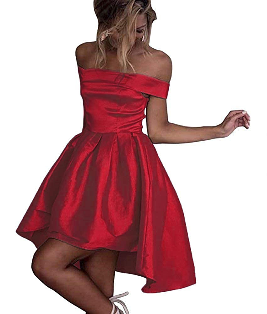 Red Dressylady Champagne OffShoulder High Low Prom Party Homecoming Dress