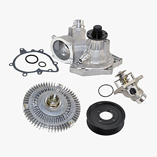 Thermostat Water Pump Fan Clutch Pulley Kit for BMW 540i 740i 740iL V8 Premium 11510393336/11527502804/11531436386/11511742045 (4pcs) New