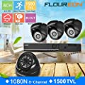 FLOUREON House Camera System Bullet Home Security Cameras 1500TVL 720P 1.0MP AHD Resolution Night Version for House/Apartment/Office from floureon