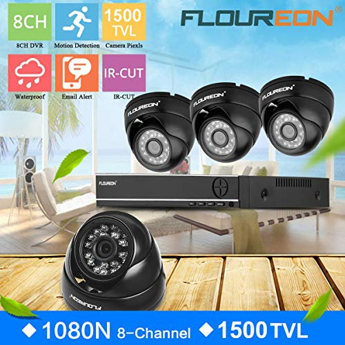 FLOUREON House Camera 8CH 1080N AHD CCTV DVR House Security System 5 in 1 TVI + 4 X 1500TVL 720P 1.0MP Dome Indoor/Outdoor Camera Surveillance Security for Home/Apartment/Office/Factory/Store