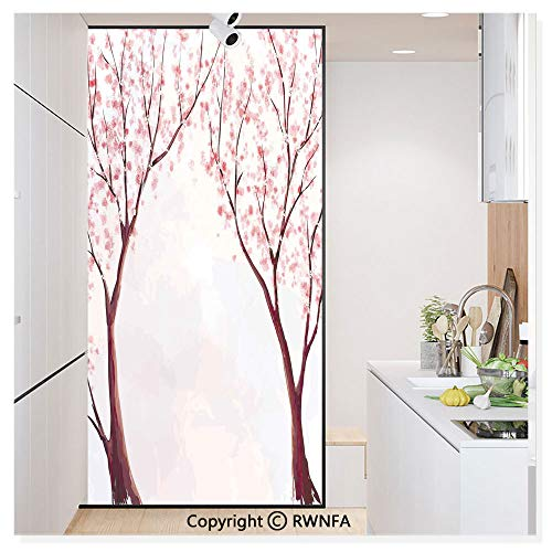 Decorative Window Film,Japanese Floral Design Sakura Tree Cherry Blossom Spring Country Home Watercolor Style Static Cling Glass Film,No Glue/Anti UV Window Paper for Bathroom,Office,Meeting Room,Bed
