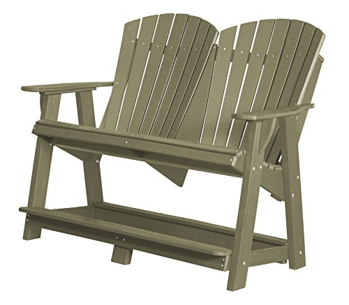 Heritage Glider - Little Cottage Company LCC-130 Heritage Double High Adirondack Glider, Olive