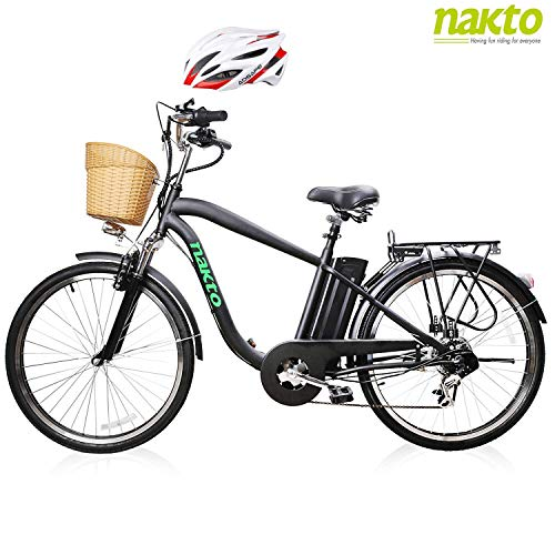 """NAKTO 26"""" Adult Electric Bicycle for Men High-Speed Brushless Motor, V Brake, Sporting Shimano 6-Speed Gear, Removable 36V 10A Lithium Battery Charger and Lock (Male Black)"""