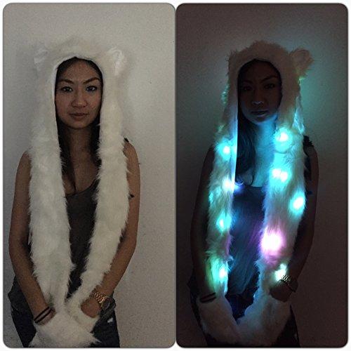 Dem Vibes Light Up Furry Hood Rave LED Spirit Hood (Furry Rave Hoods)