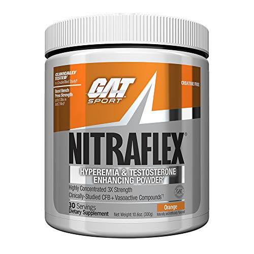 GAT – NITRAFLEX – Testosterone Enhancing Powder, Increases Blood Flow, Boosts Strength and Energy, Improves Exercise Performance, Creatine-Free Orange, 30 Servings