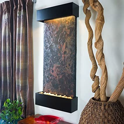 Amazon.com : BluWorld Nojoqui Falls Indoor Outdoor Wall Fountain ...