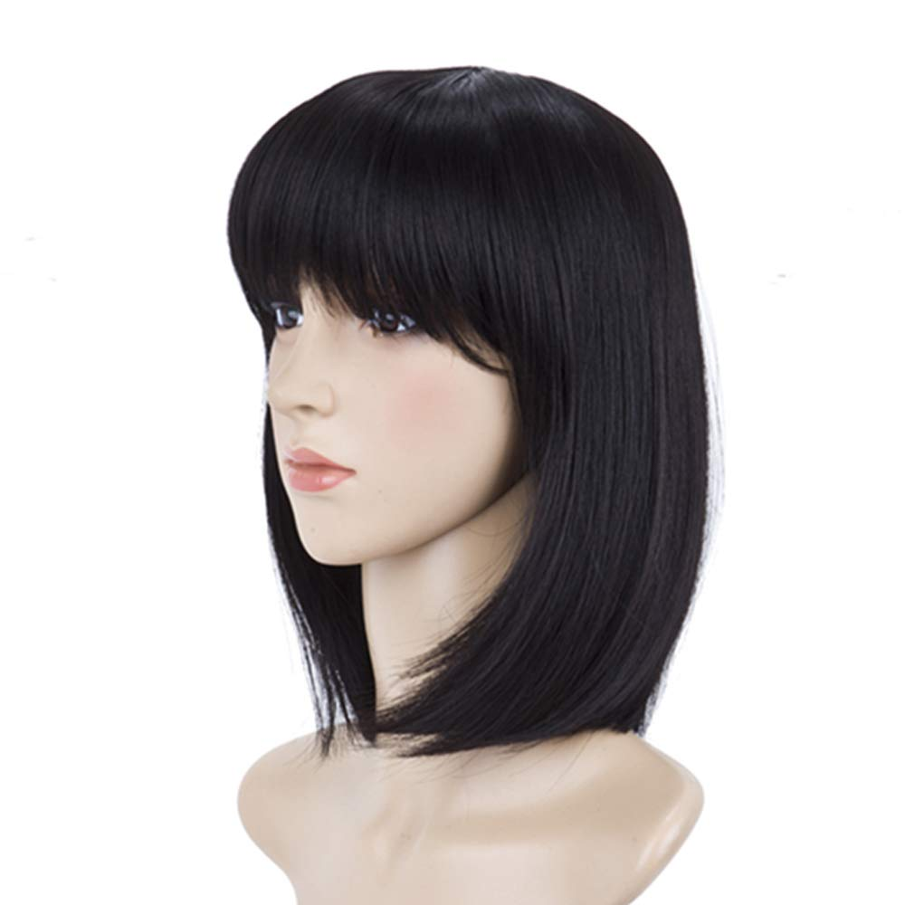 BeliHair Black Wigs Short Straight BOB Synthetic Costumes Wigs for Women  Cosplay Christmas Party 12 inch Natural Wig as Real Hair