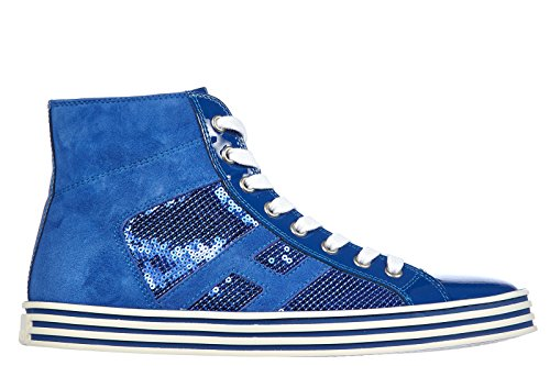 Hogan Rebel scarpe sneakers alte donna in pelle nuove rebel r141 laterale paille