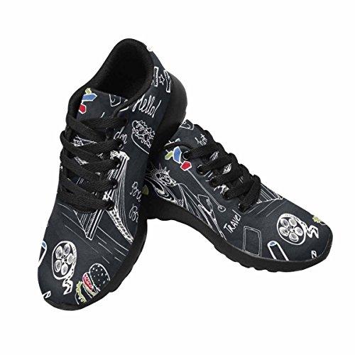 Scarpe Da Corsa Trail Running Da Donna Jogging Leggero Scarpe Da Ginnastica Sportive Da Passeggio New York Americano Simboli Da Viaggio In Mano Schizzo Disegnato Multi 1