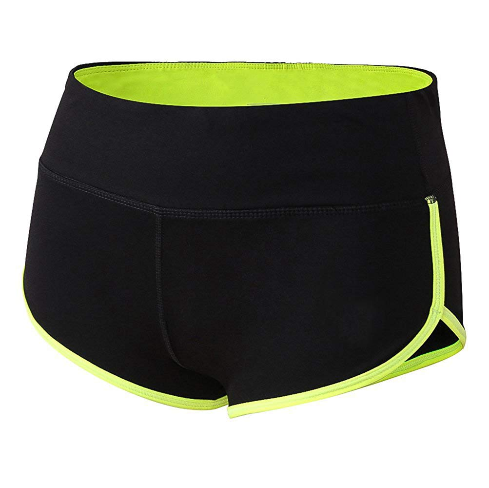 Dielusa Gym Shorts for Women Stretch Mini Athletic Wicking fit Yoga Workout Running (Green XL)