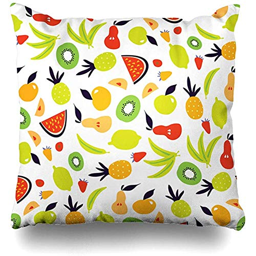 Throw Pillow Cover Healthy Orange Apple Fruit Modern Your Abstract Black Food Drink Banana Berry Bright Design Leaf Decorative Pillow Case Decor Square Size 18x18 Inches Home - Berry Banana Drink