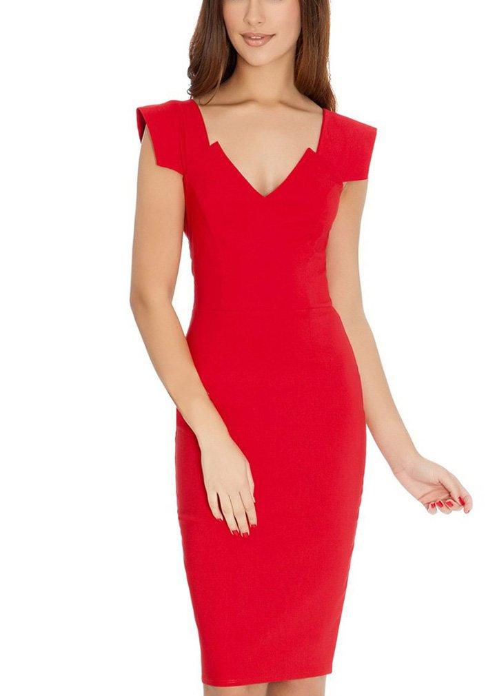Ssyiz Women's Retro 1950s Style Cap Sleeve Slim Business Pencil Dress Red 10