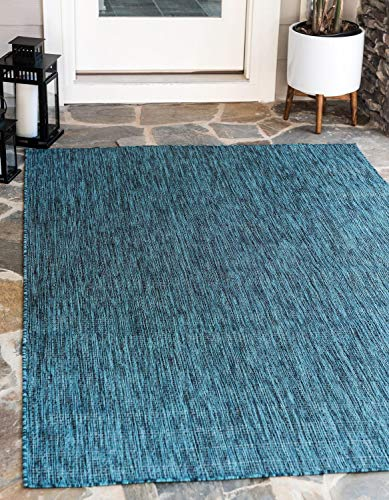 (Unique Loom Outdoor Solid Collection Casual Transitional Indoor and Outdoor Flatweave Teal  Area Rug (8' x 11'))