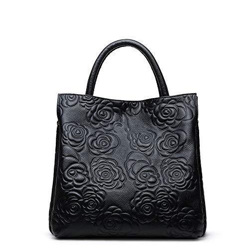 Color seoras de Bags Simple Almacenamiento Totes en de Las Crossbody Negro Hombro Paquete Bag Femenino Femenino Diagonal de Hobo Relieve Negro Shoulder Capacidad Xuanbao Mujer Bolso Gran xSXgqfqt