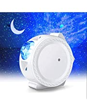 WIFI Projector Night Light, ALED LIGHT Upgraded Smart LED Projection Light Stars Water Wave Moon 3in1 Starry Sky Home Light Work with Alexa Sound Activated LED Night Lamp for Baby Kids Room Decoration