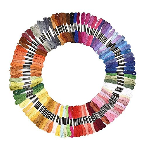 Embroidery Floss Sets (Soledi Embroidery Floss 100 Skeins Embroidery Thread Rainbow Color Cross Stitch Floss)