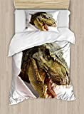 Ambesonne Dinosaur Duvet Cover Set Twin Size, Dangerous Dinosaur Tears up The Paper Wall Image Scary Break Scenery, Decorative 2 Piece Bedding Set with 1 Pillow Sham, Green Army Green White