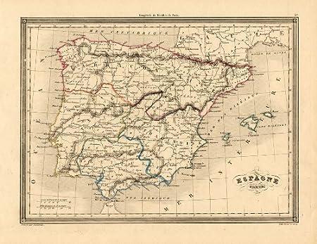 ThePrintsCollector de mapamundi antiguo-Portugal-de la bandera de España-Europa-Ancient-vuillemin-1846: Amazon.es: Hogar