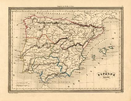 Amazon Com Antique Map Portugal Spain Europe Ancient Vuillemin 1846