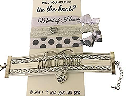 Infinity Collection Maid of Honor Bracelet and Hair Tie Set- Bridesmaid Gift Bracelet, Bridal Party Bracelets, Gift for Maid of Honor
