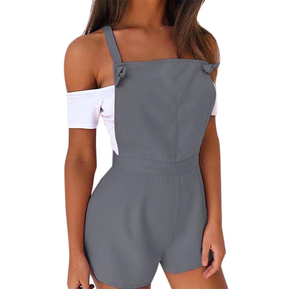 Jumpsuit Damen Sommer LHWY Frauen Zip Latzhose Fit Solid Strampler Hohe Taille Playsuit Shorts Hosen Kurz Shorts Freizeit Workout Jeans Sommerkleid