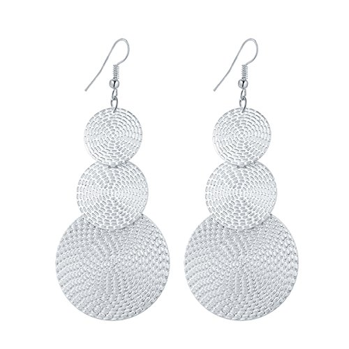 IDB Delicate Filigree Dangle Triple Disc Drop Hook Earrings - available in silver and gold tones (Silver tone) (Earrings Tone Silver Chandelier Filigree)