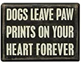 Primitives by Kathy Box Sign, 3-Inch by 4-Inch, Dogs Paw Prints