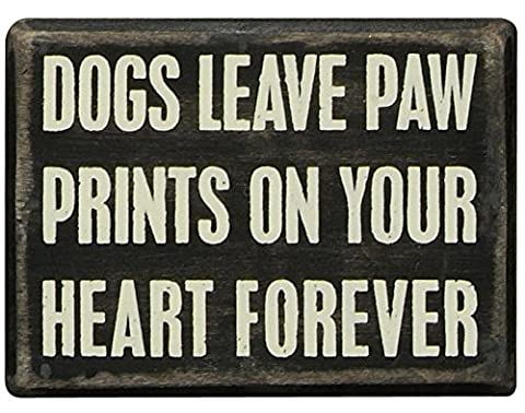 Primitives by Kathy Box Sign, 3-Inch by 4-Inch, Dogs Paw Prints - Picture Paw Print