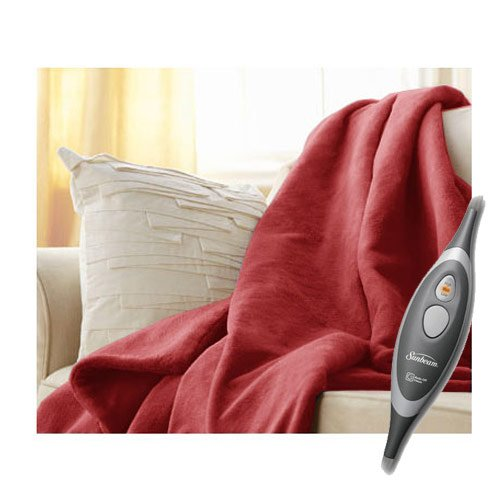 Sunbeam Velvet Soft Plush Heated Throw Blanket Various Colors Size: 50 x 60 3 Heat Setting Remote Control Auto Off (Red - Blanket Sunbeam