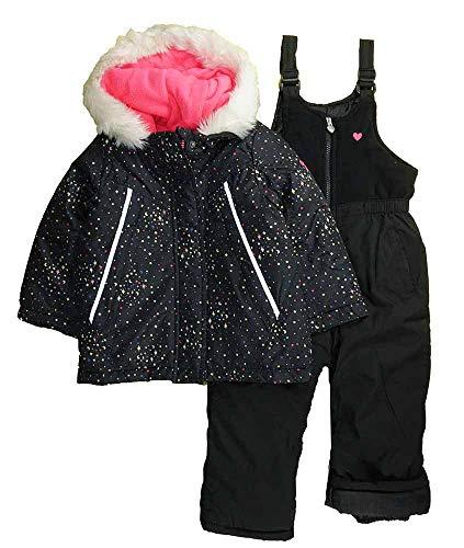 OshKosh Baby Girls' Infant Star Print Heavy Weight Winter Coat and Snow Pants, Black Print, 18M