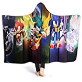 Putiancaijunkai Sonic The Hedgehog Blanket with Hat Bed Couch Soft Blanket Air Conditioning Blanket Throw Flannel Plush for Teens Kids