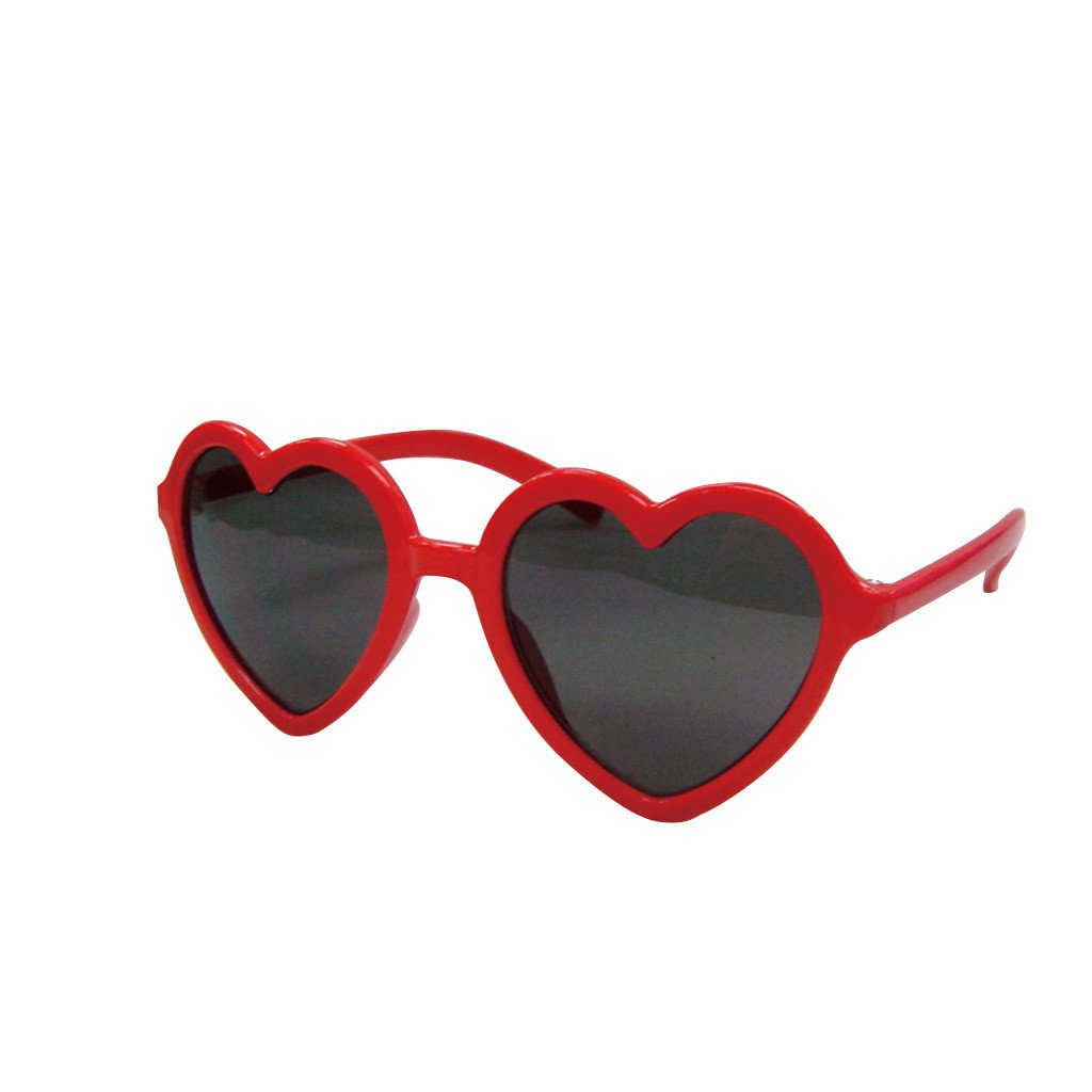 Time Concept Children/Toddlers Fashion Sunglasses - Heart, Red - UV-Protected Summer Eyewear, Kids 4-14 Years