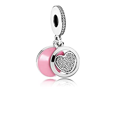9680d6dfd Image Unavailable. Image not available for. Color: Pandora Sterling Silver  Devoted Heart Dangle Charm 792149EN24