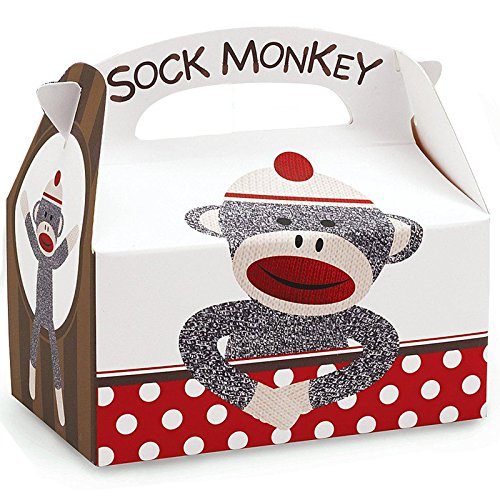 Sock Monkey Party Supplies - Empty Favor Boxes (4) - Sock Puppet Costume Monkey