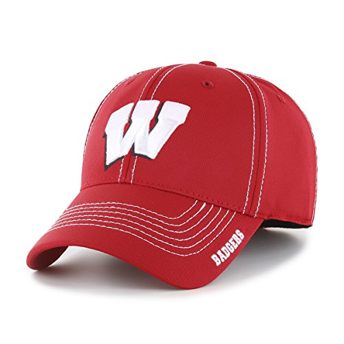 - OTS NCAA Wisconsin Badgers Adult Start Line Center Stretch Fit Hat, Medium/Large, Red