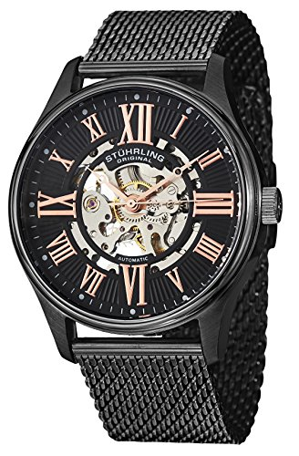 Stuhrling Original Men's 747M.03 Atrium Elite Automatic Skeleton Black Stainless Steel Watch