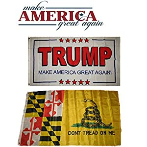 3 'x5' Donald Trump blanco # 2 & Maryland bandera de Gadsden venta al por mayor Set