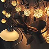 Over the hill-Room 20 White Rattan Ball LED Light String Fairy Lamp Wedding Party Xmas Decor